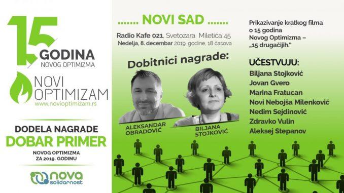 Novi Optimizam obeležava 15 godina rada skupom u Novom Sadu 8. decembra 2