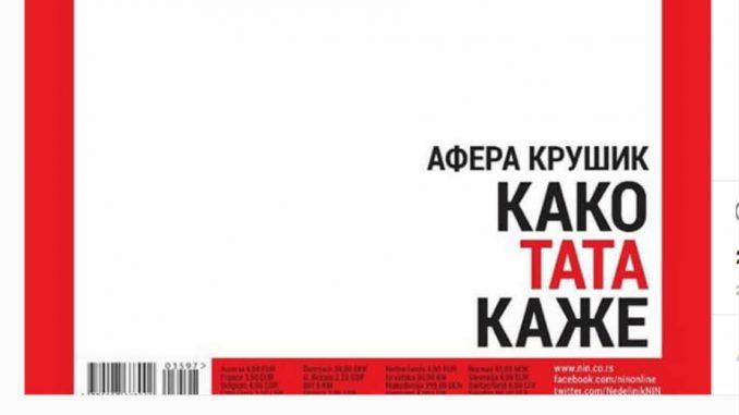 Nedeljnik NIN bez fotografije na naslovnoj strani, ali i dalje o aferi Krušik 4