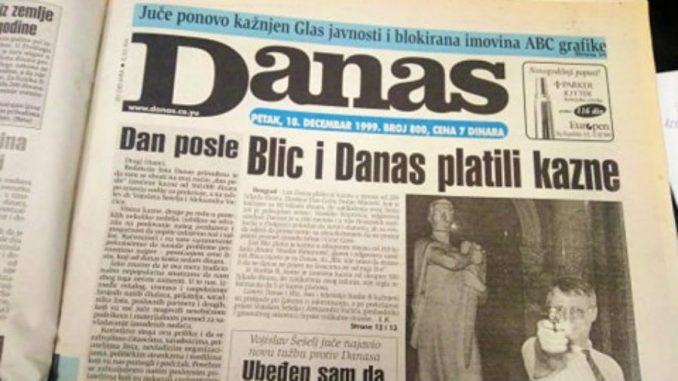 Kako je list Danas kažnjen po prijavi Šešelja i Vučića pre 20 godina? 1