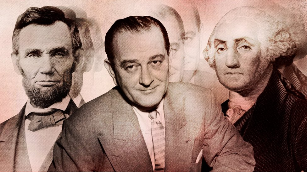 Abraham Lincoln (left), LBJ (middle) and George Washington