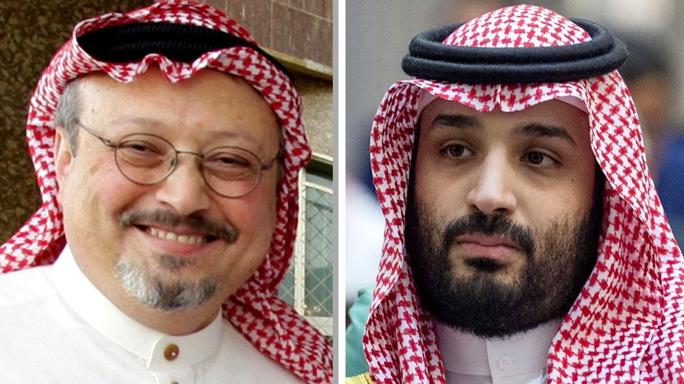 Spojene fotografije Džamala Kašogija (levo) i Muhameda bin Salmana (desno)