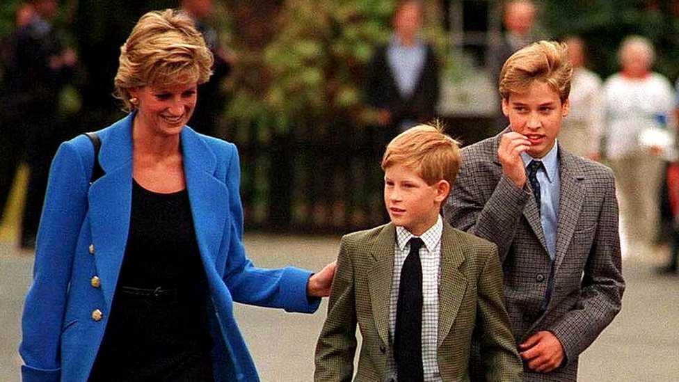 Diana, Princess of Wales, takes Harry and William to school, 1995