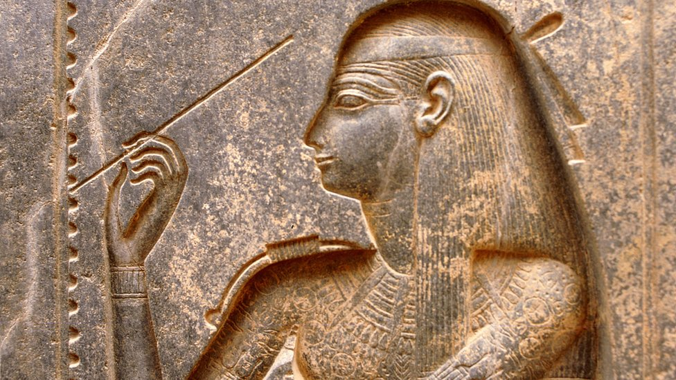 Stone carving of the ancient Egyptian goddess Seshat