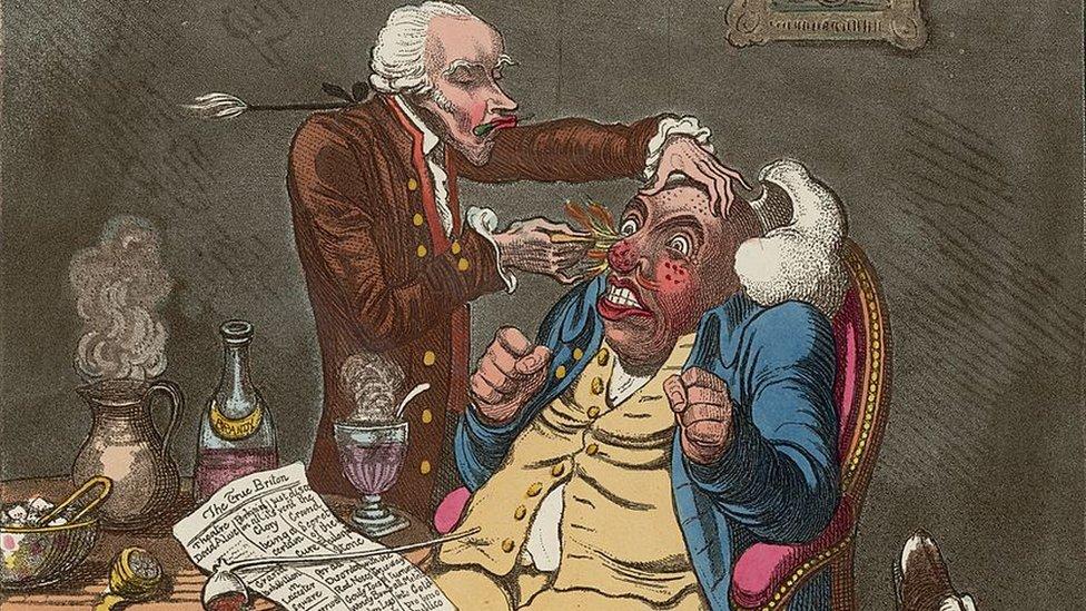 Karikatura doktora šarlatana 1801