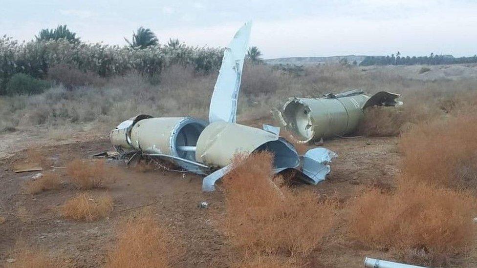 Pieces of Iranian missile near town of al-Baghdadi, Iraq - 8 January 2020