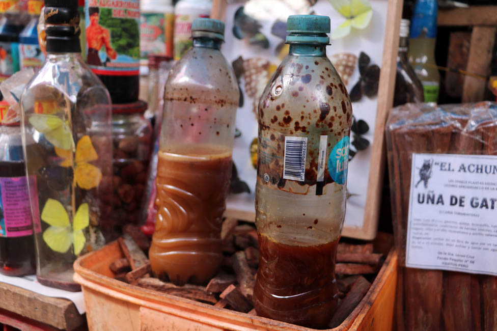 Ayahuasca on sale at Belén Market in Iquitos, Peru