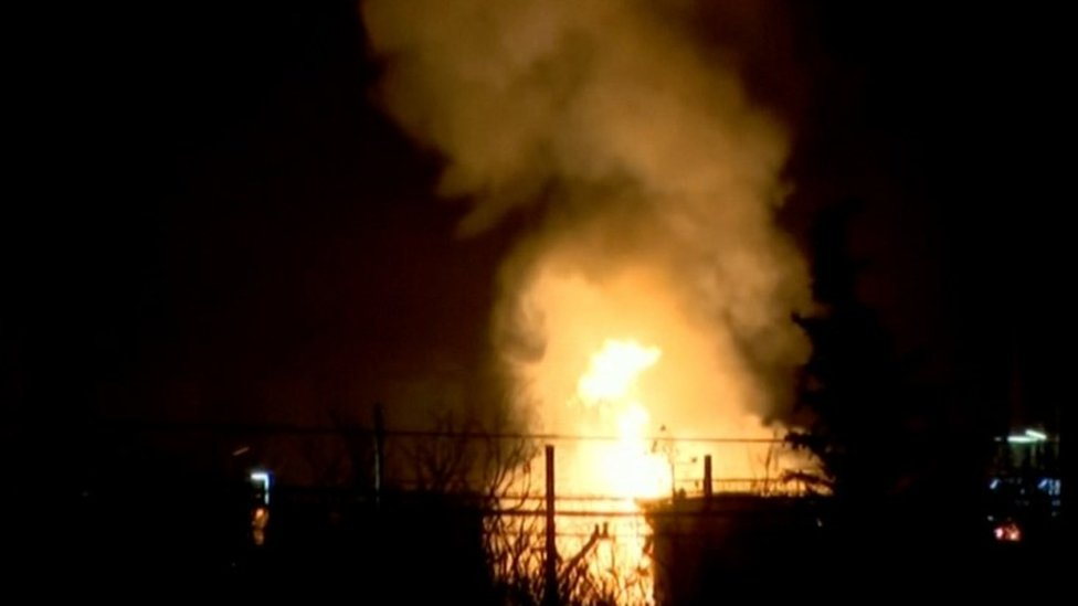 Fire at a chemical plant in Spain. Photo: 14 January 2020