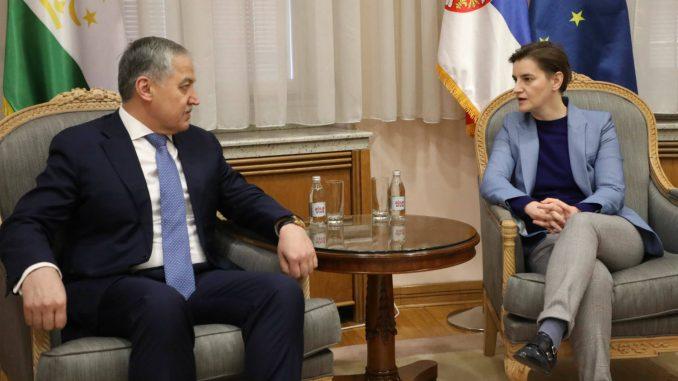 Brnabić zahvalila Tadžikistanu na podršci u očuvanju suvereniteta Srbije 2