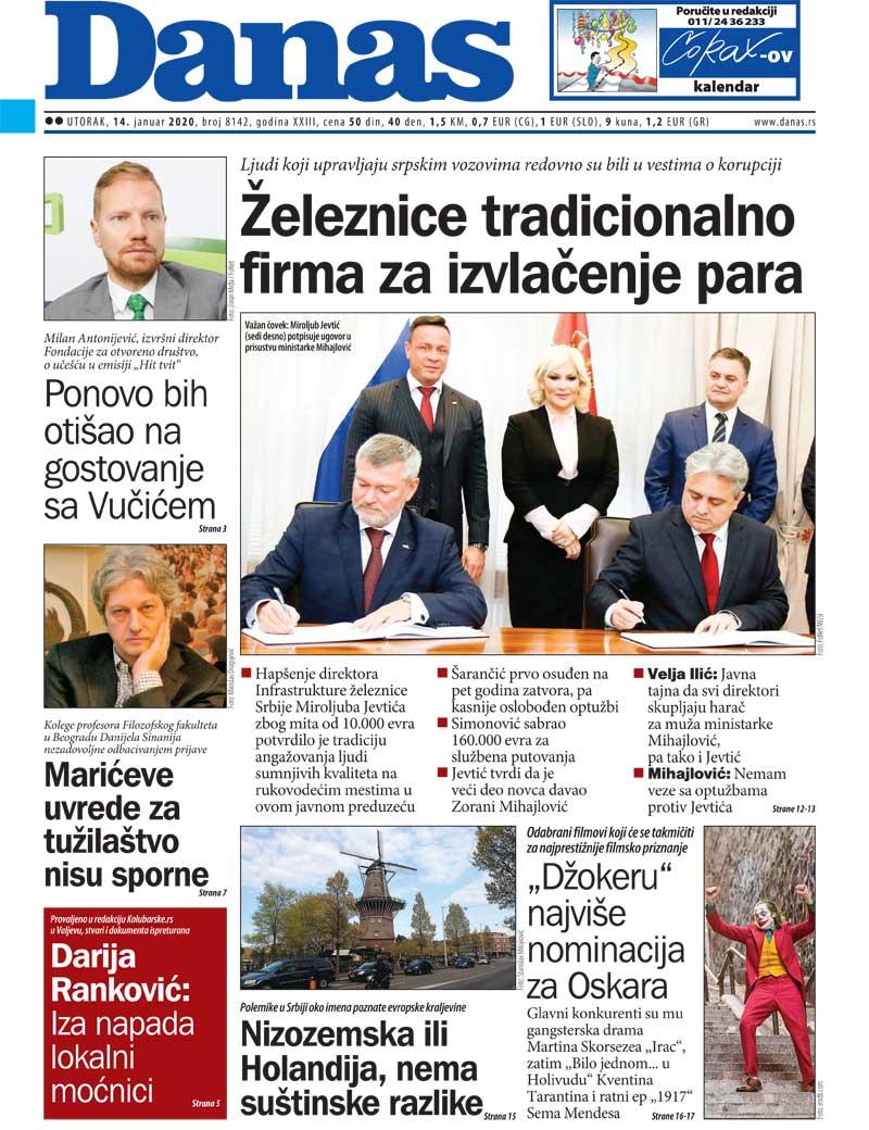 Naslovna za 14. januar 2020. 1