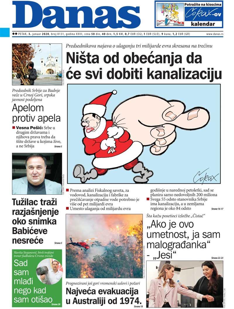 Naslovna za 3. januar 2020. 1