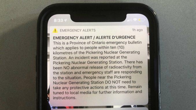 Upozorenje na incident u kanadskoj nuklearnoj elektrani greškom poslato milionima 1