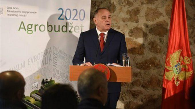 Simović: Agrobudžet Crne Gore za 2020. veći za 8,3 miliona evra 2