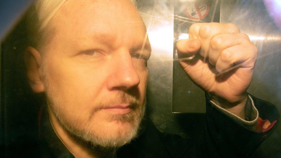 Julian Assange arrives at Southwark Crown Court