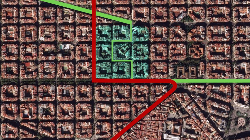 An aerial map of the superblock showing how traffic is blocked from passing through