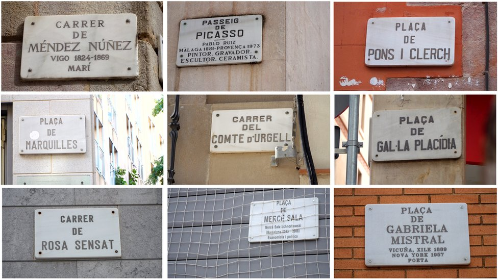 A montage of nice street name signs, six are names after men, three after women.