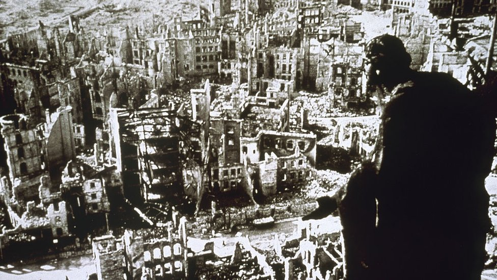 Dresden after the bombing, as seen from the top of the town hall