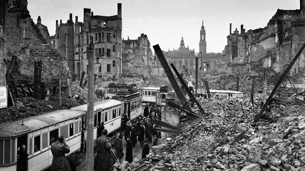 People taking a tram in Dresden amid the wreckage, 1946