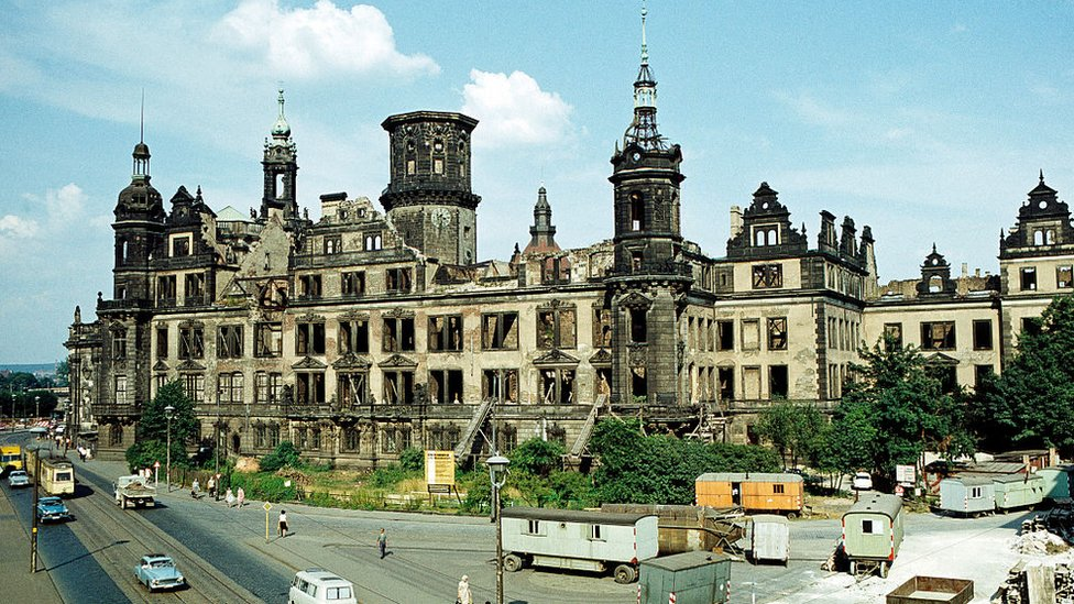 Dresden castle photographed in East Germany in 1969