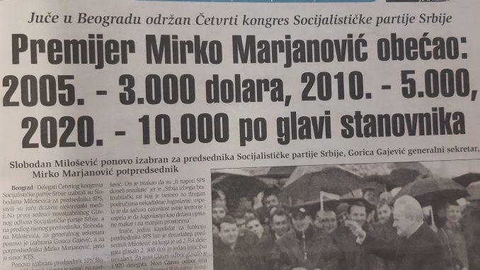 Mirko Marjanović za 2020. predviđao 10.000 dolara BDP po stanovniku 2