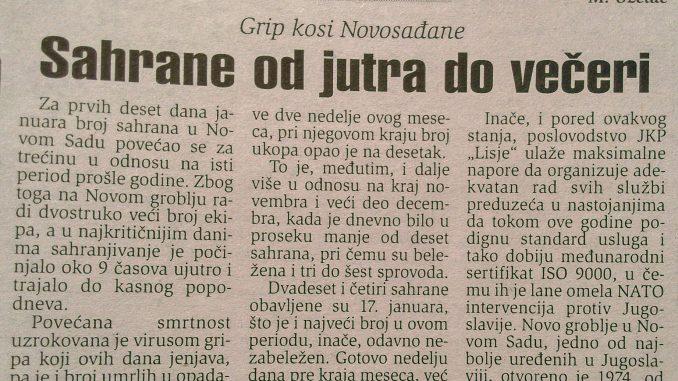 """Kako je grip pre dve decenije """"kosio"""" po Srbiji? 3"""
