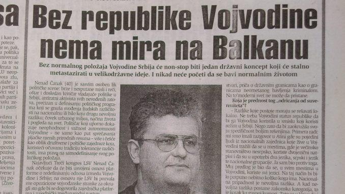 Kako su LSV i Nenad Čanak pre dve decenije tražili Republiku Vojvodinu? 1