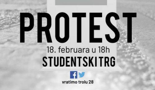 Otkrivanje spomenika trolejbusu 28 na Studentskom Trgu 18. februara 1