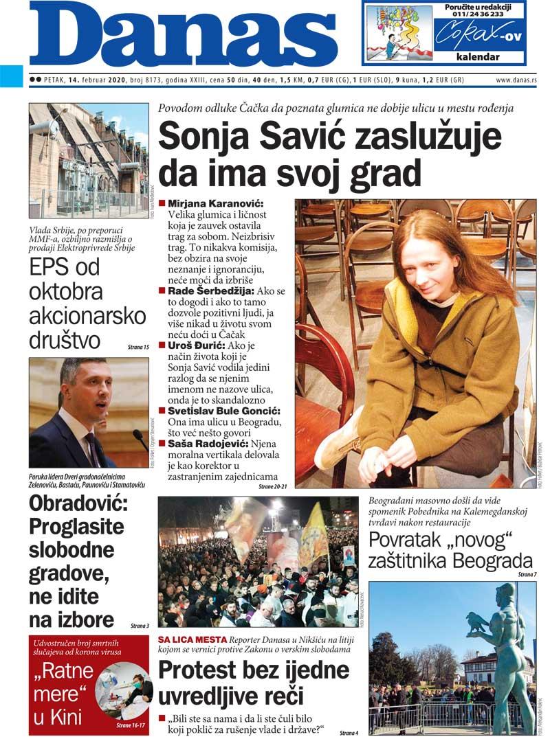 Naslovna za 14. februar 2020. 1