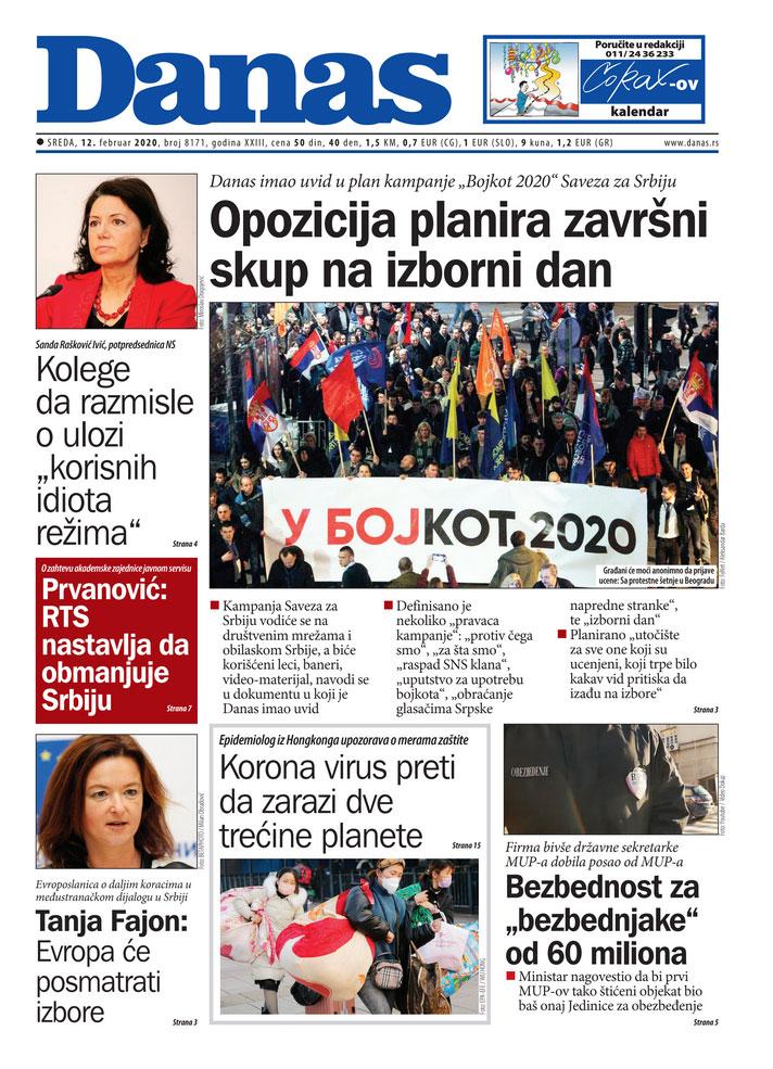 Naslovna za 12. februar 2020. 1