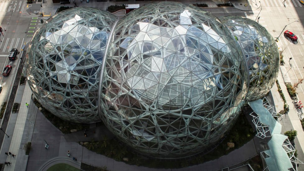 The Spheres are seen at the Amazon headquarters in Seattle, Washington on March 13, 2019.