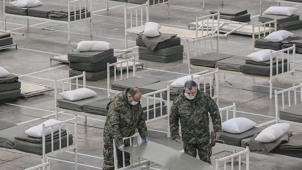 Vojnici u hali Sajma u Beogradu