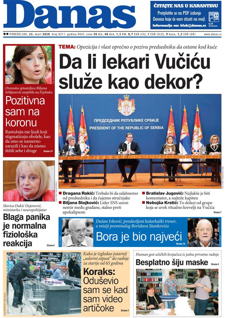 Naslovna strana za 23. mart 2020. 1