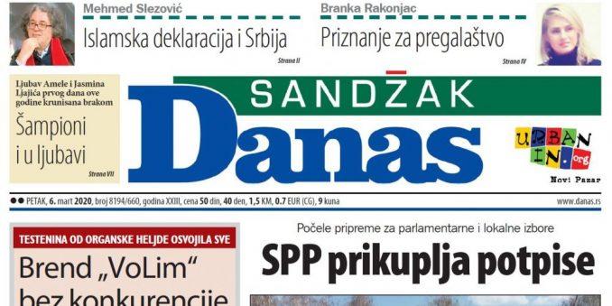 Sandžak Danas - 6. mart 2020. 1