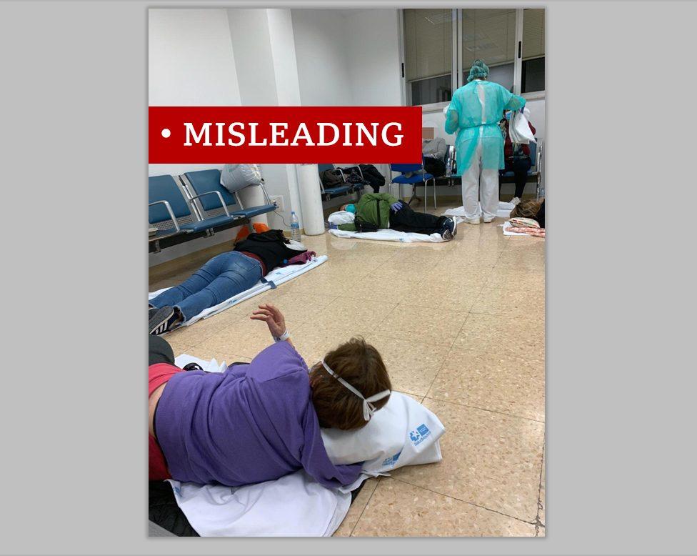 Photo of patients on Spanish hospital floor