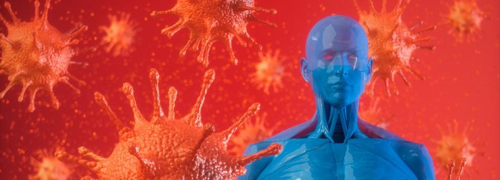 A body with animations of coronavirus