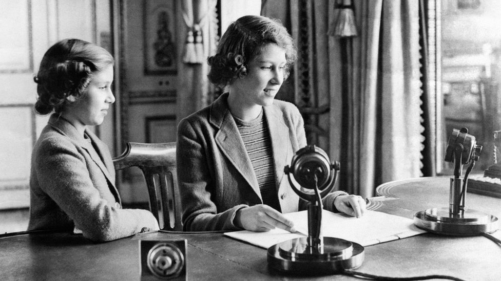 The then Princess Elizabeth and Princess Margaret after they broadcast on Children's Hour from Windsor Castle