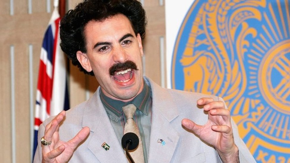 Actor Sacha Baron Cohen appears in character as Kazakh journalist Borat Sagdiyev