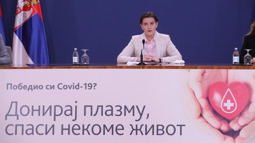 Brnabić saopštila da su u Srbiji izlečene 534 osobe i pozvala građane da daju krvnu plazmu 1