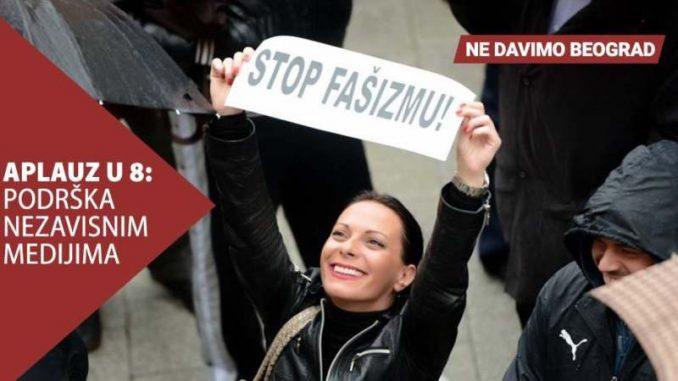 Ne davimo Beograd: Aplauz u 8 kao podrška nezavisnim i slobodnim medijima 1