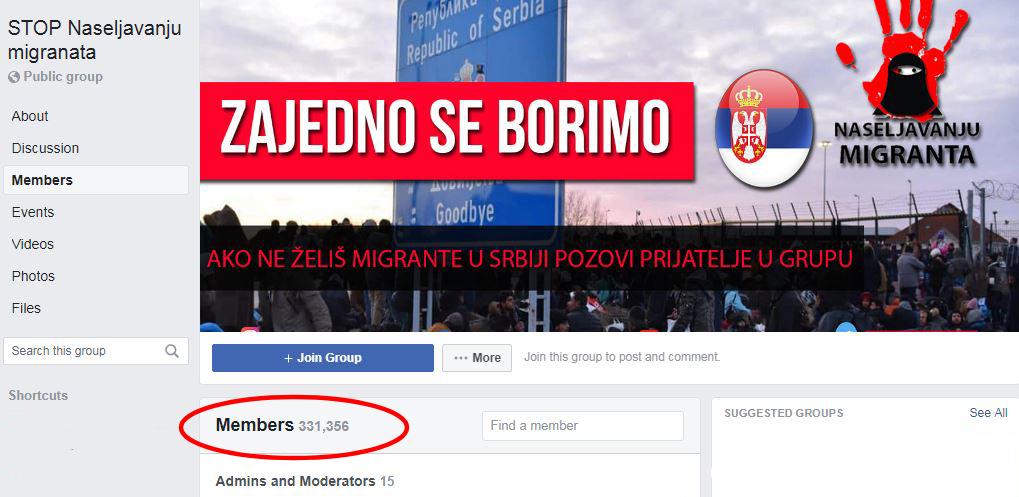 fejsbuk grupa stop naseljavanju migranata