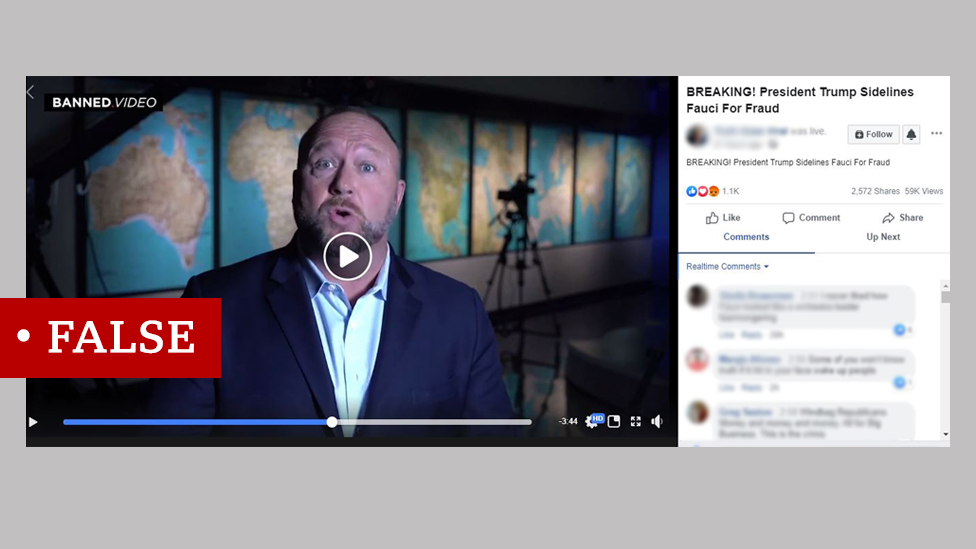 Screenshot of a video with Alex Jones, the right-wing conspiracy theorist