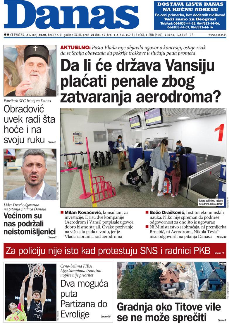 Naslovna za 21. maj 2020. 1