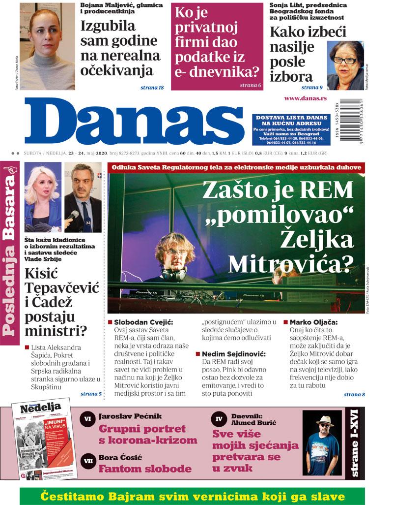 Naslovna za 23. maj 2020. 1
