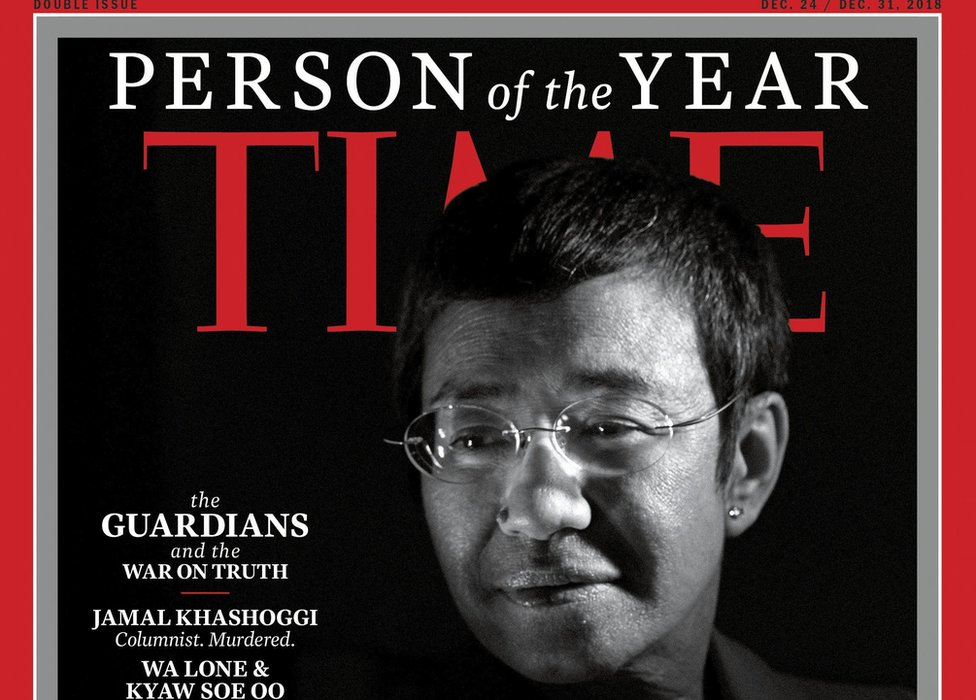 "The cover for Time magazine ""Person of the Year"" edition in 2018"