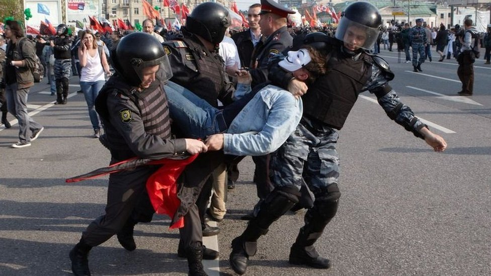 Russian Police detain opposition supporters during a 'March of Millions' protest rally against Vladimir Putin's return in Moscow, Russia on May 6, 2012.