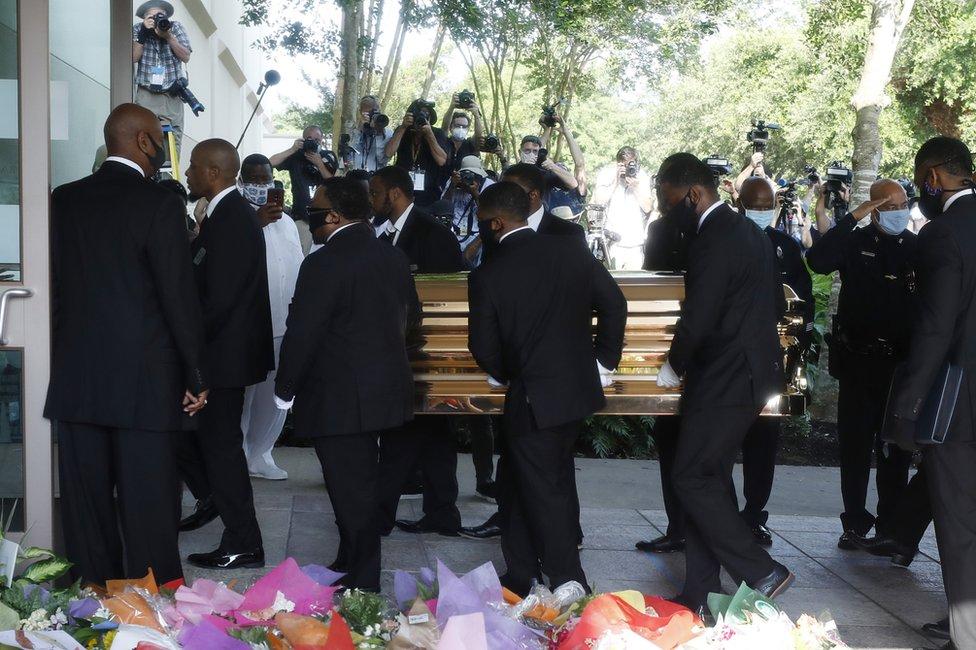 George Floyd's coffin, 9 June