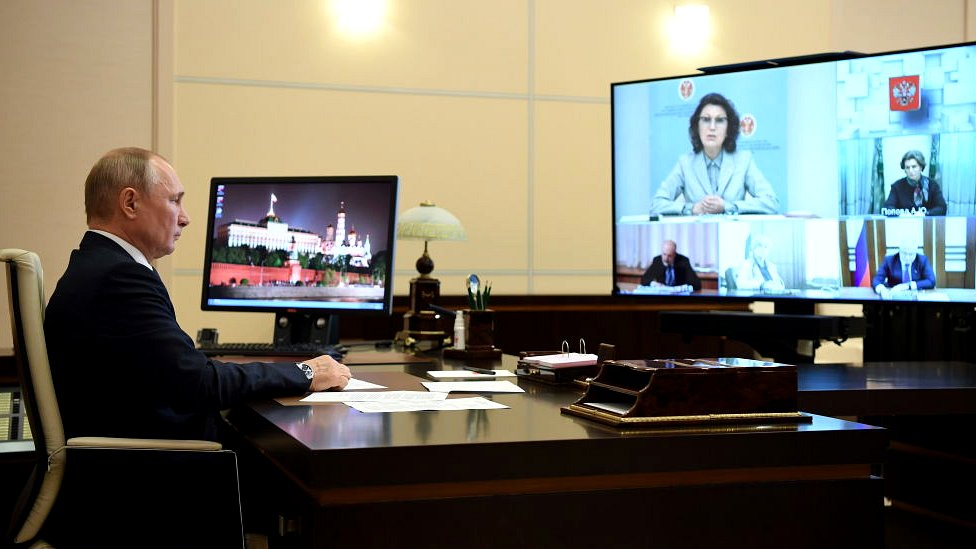 President Putin holding a video conference