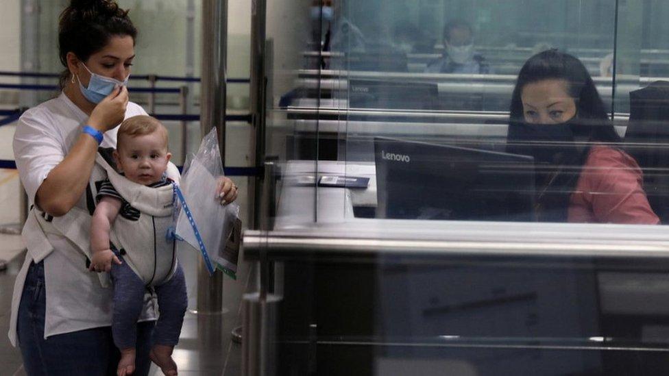 Passport control at Larnaca airport, Cyprus, file pic