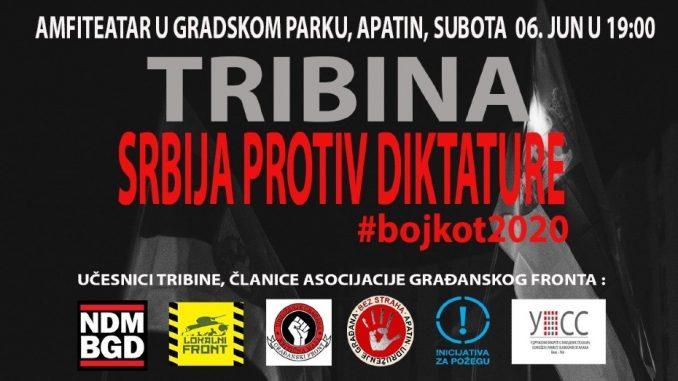 """UG """"Bez straha"""" organizuje tribinu """"Srbija protiv diktature - Bojkot"""" 6. juna u Apatinu 2"""