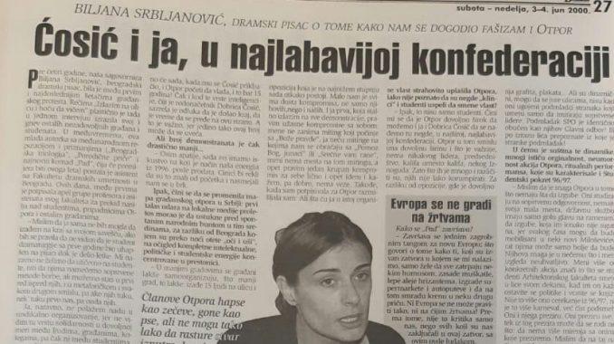 Zašto se pre 20 godina Biljana Srbljanović pridružila Otporu? 3