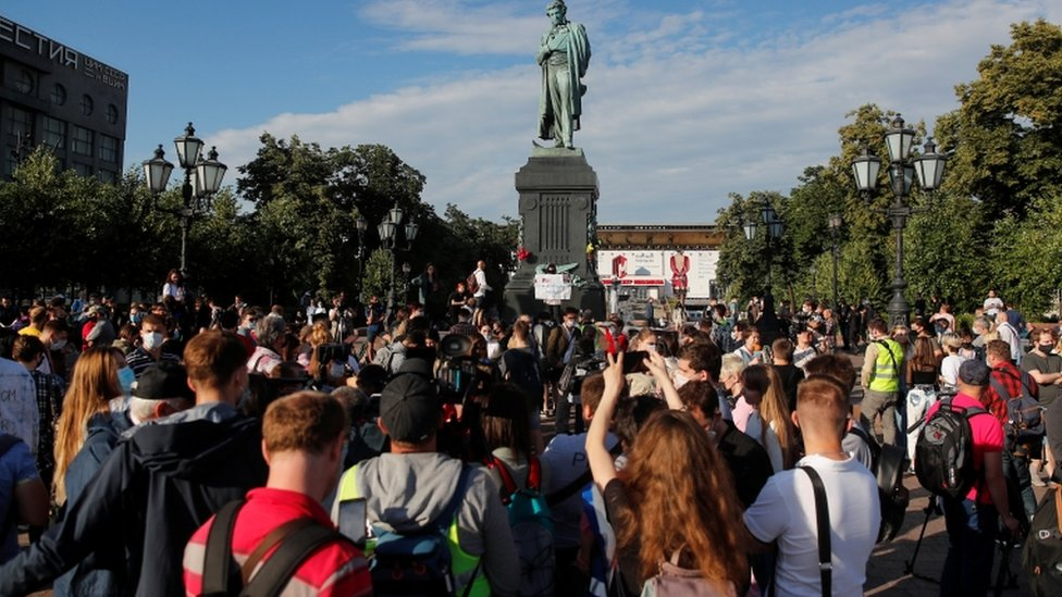 Protesters gather in Moscow against the vote